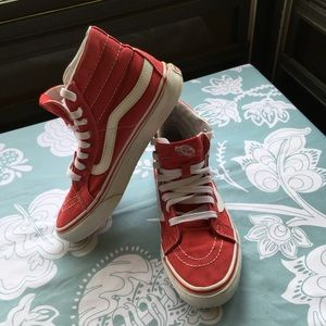 Men's Red High Top Vans Size Men's 4.5, Wo 6.0